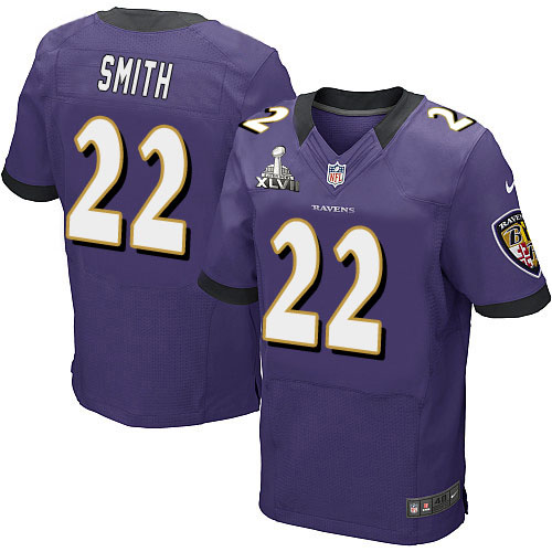 Nike Ravens 22 Jimmy Smith Purple 2013 Super Bowl XLVII Elite Jersey