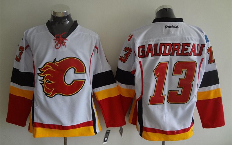 Flames 13 Johnny Gaudreau White Reebok Jersey
