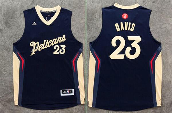 Pelicans 23 Anthony Davis Navy Blue 2015-16 Christmas Day Swingman Jersey