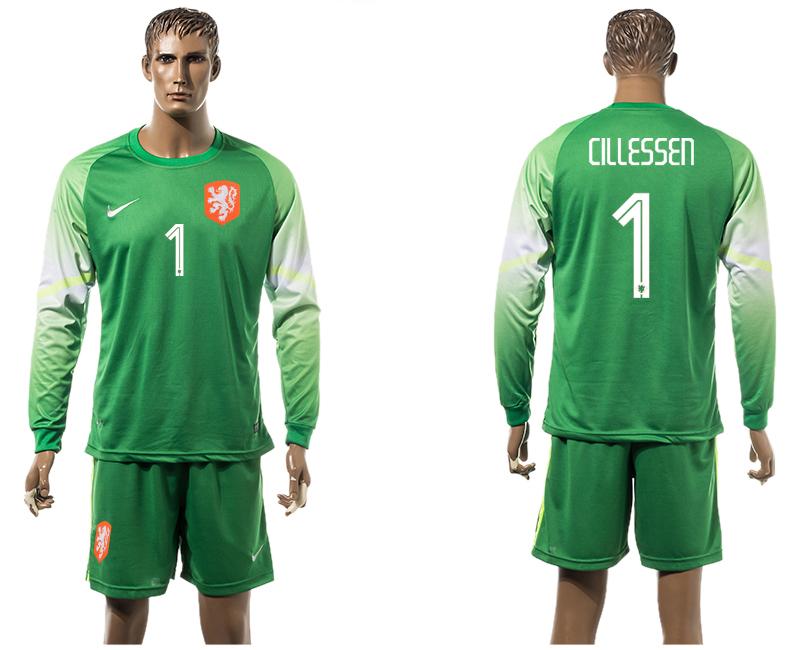 2015-16 Netherlands 1 CILLESSEN Goalkeeper Long Sleeve Jersey