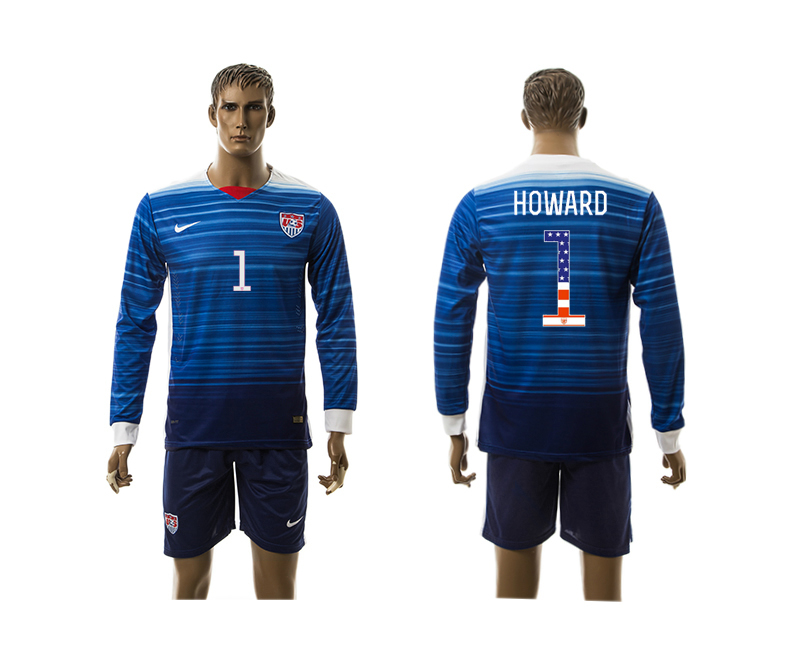 2015-16 USA 1 HOWARD Independence Day Away Long Sleeve Jersey