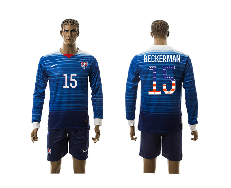 2015-16 USA 15 BECKERMAN Independence Day Away Long Sleeve Jersey
