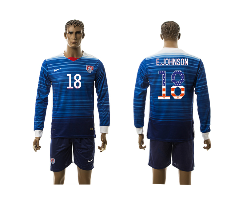 2015-16 USA 18 E.JOHNSON Independence Day Away Long Sleeve Jersey