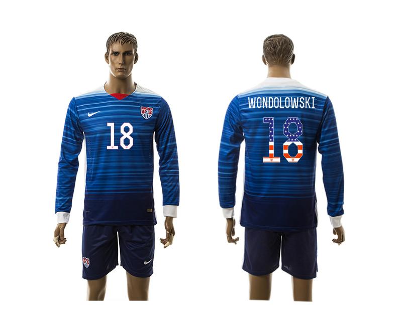 2015-16 USA 18 WONDOLOWSKI Independence Day Away Long Sleeve Jersey
