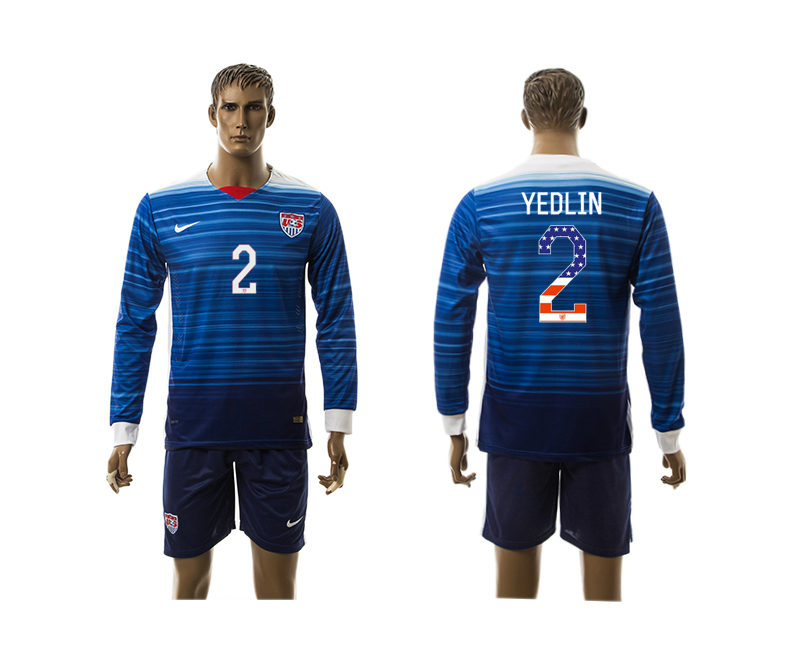 2015-16 USA 2 YEDLIN Independence Day Away Long Sleeve Jersey