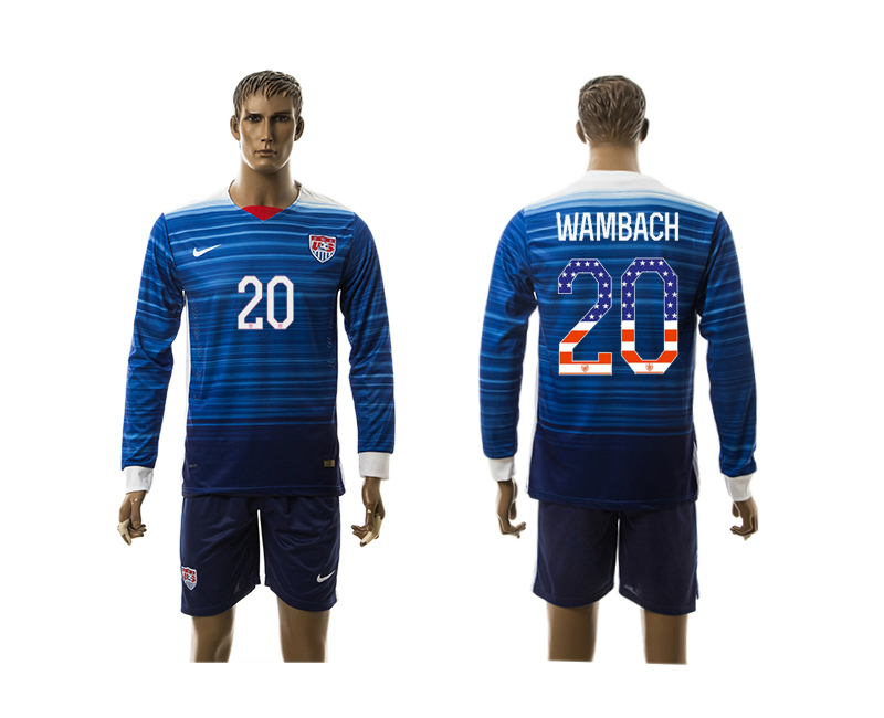 2015-16 USA 20 WAMBACH Independence Day Away Long Sleeve Jersey