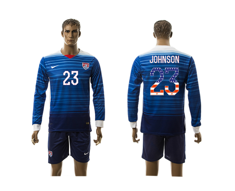 2015-16 USA 23 JOHNSON Independence Day Away Long Sleeve Jersey