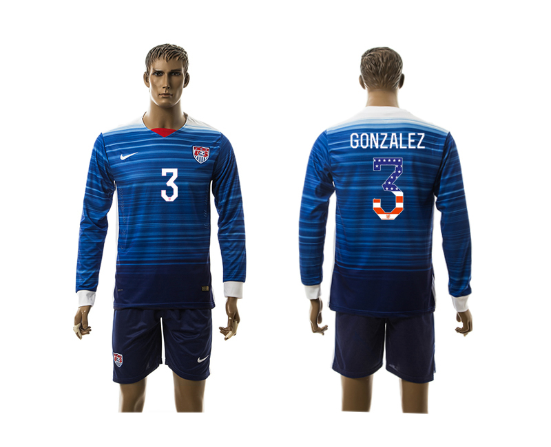 2015-16 USA 3 GONZALEZ Independence Day Away Long Sleeve Jersey