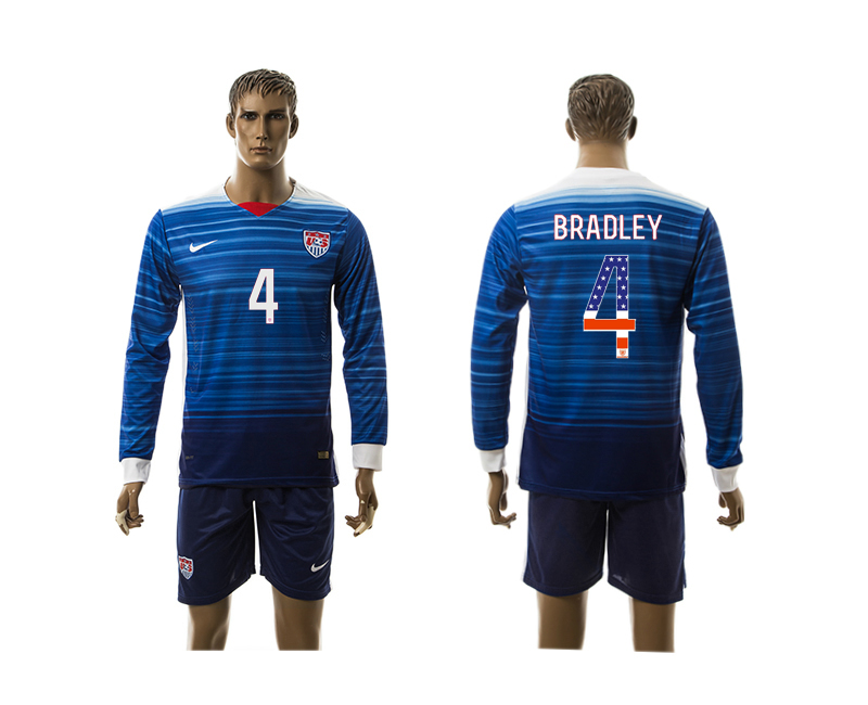 2015-16 USA 4 BRADLEY Independence Day Away Long Sleeve Jersey