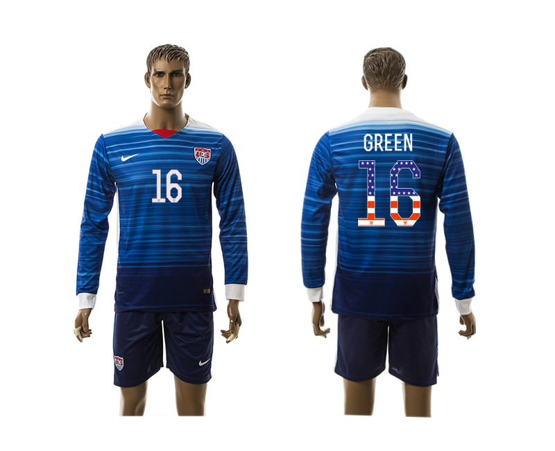 2015-16 USA 6 GREEN Independence Day Away Long Sleeve Jersey