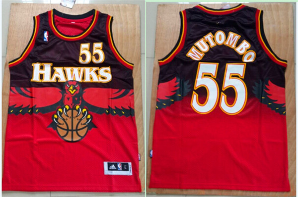 Hawks 55 Dikembe Mutombo Red Throwback Stitched Jersey