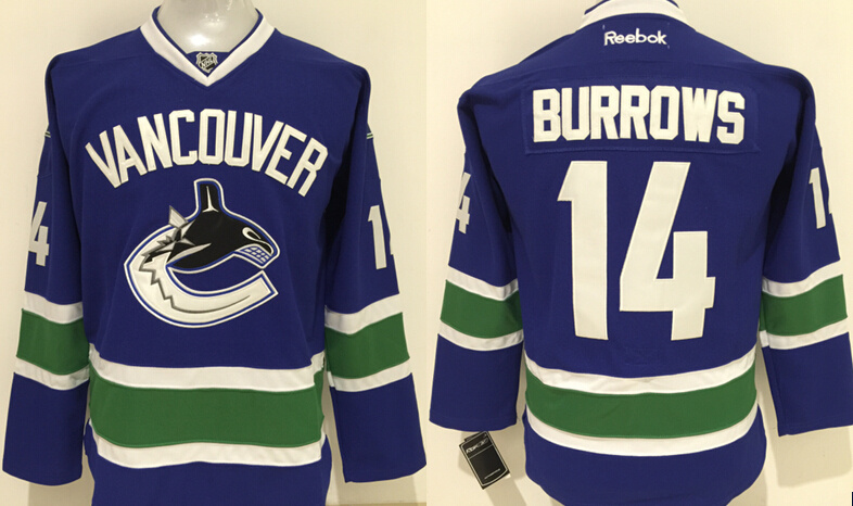 Canucks 14 Alexandre Burrows Blue Reebok Jersey