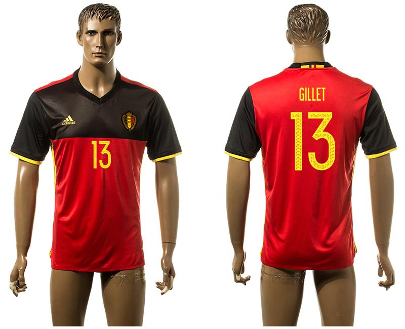Belgium 13 GILLET Home UEFA Euro 2016 Thailand Jersey