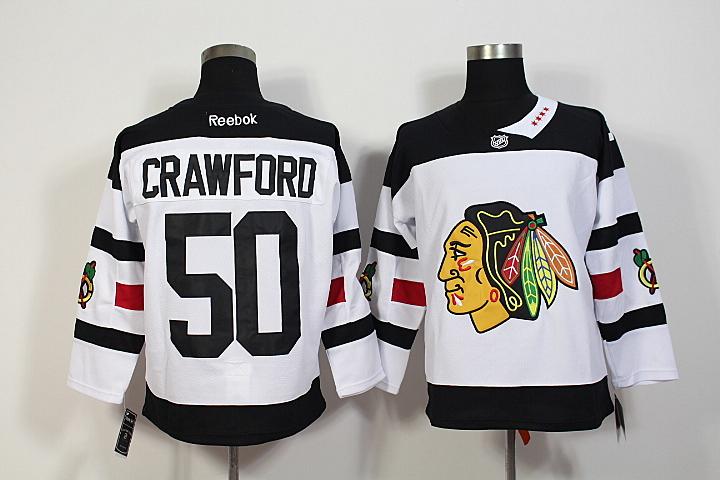 Blackhawks 50 Corey Crawford White 2016 Stadium Series Reebok Jersey
