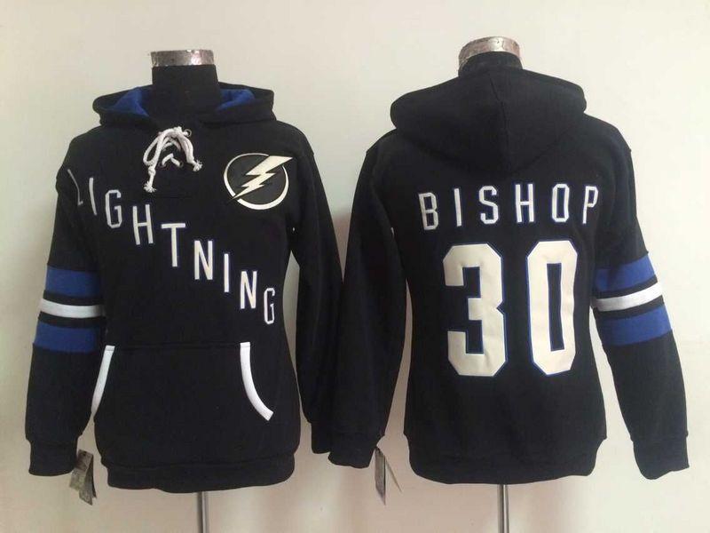 Lightning 30 Ben Bishop Black Women All Stitched Hooded Sweatshirt