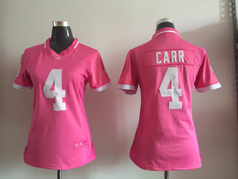 Nike Raiders 4 Derek Carr Pink Bubble Gum Women Game Jersey