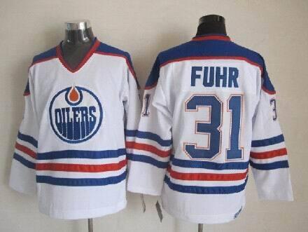 Oilers 31 Grant Fuhr White CCM Jersey