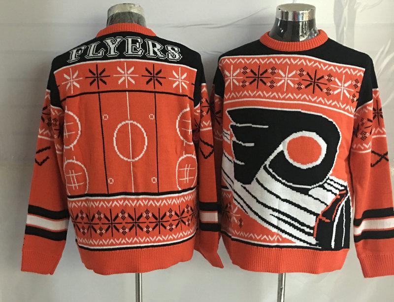 Philadelphia Flyers Orange Crew Neck Men's Ugly Sweater