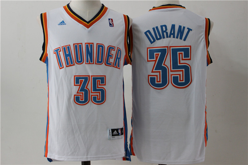 Thunder 35 Kevin Durant White Swingman Jersey