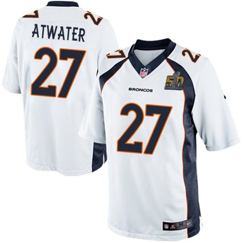 Nike Broncos 27 Steve Atwater White Youth Super Bowl 50 Game Jersey