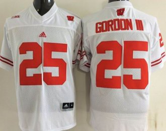 Wisconsin Badgers 25 Melvin Gordon III White College Jersey