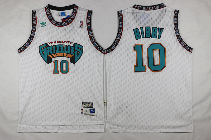 Grizzlies 10 Mike Bibby White Hardwood Classics Jersey