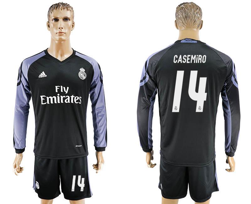 2016-17 Real Madrid 14 CASEMIRO Third Away Long Sleeve Soccer Jersey