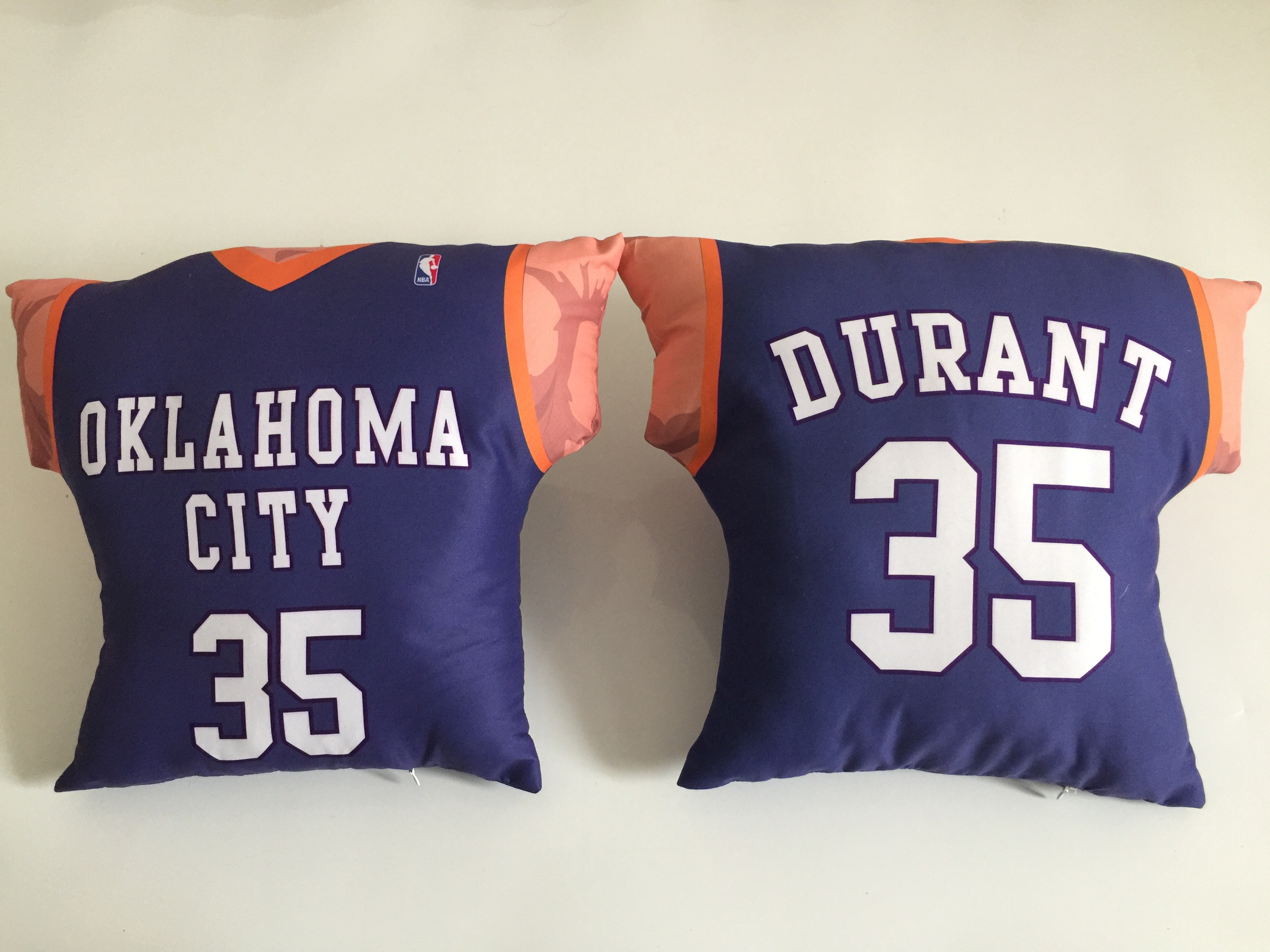 Oklahoma City Thunder 35 Kevin Durant Blue NBA Pillow