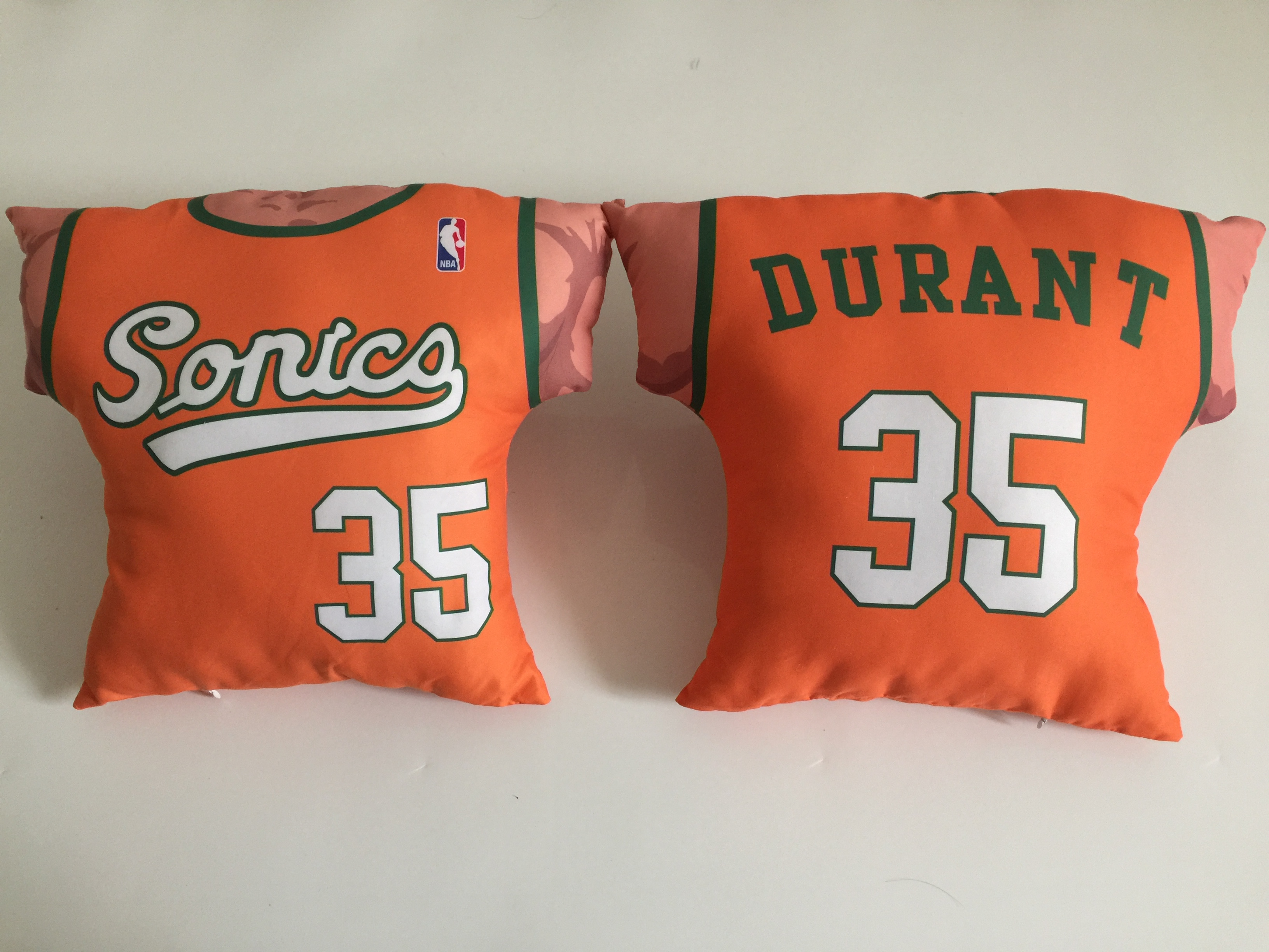 Seattle SuperSonics 35 Kevin Durant Orange NBA Pillow