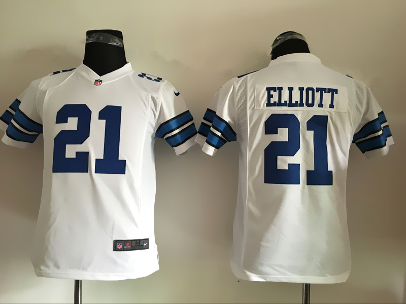 Youth Nike Cowboys 21 Ezekiel Elliott White Game Jersey