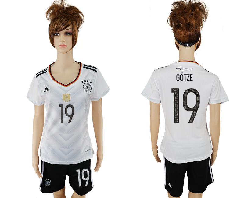 Germany 19 GOTZE Home 2017 FIFA Confederations Cup Women Soccer Jersey