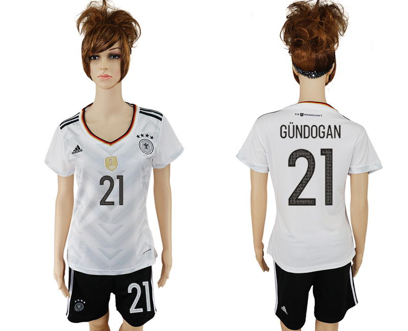 Germany 21 GUNDOGAN Home 2017 FIFA Confederations Cup Women Soccer Jersey