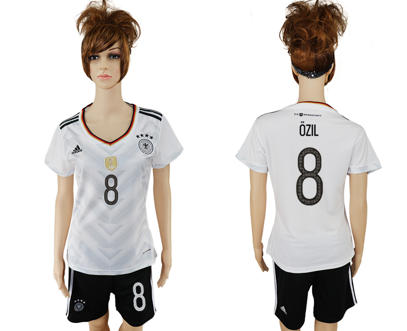 Germany 8 OZIL Home 2017 FIFA Confederations Cup Women Soccer Jersey
