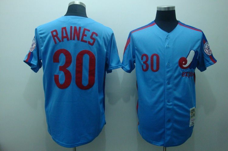 Expos 30 Tim Raines Blue Throwback Jersey