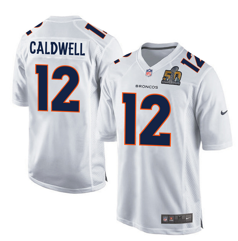 Nike Broncos 12 Andre Caldwell White Super Bowl 50 Bound Game Event Jersey