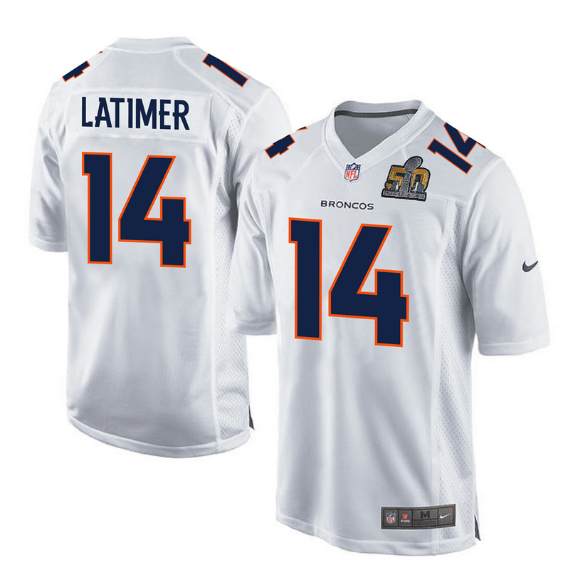 Nike Broncos 14 Cody Latimer White Super Bowl 50 Bound Game Event Jersey