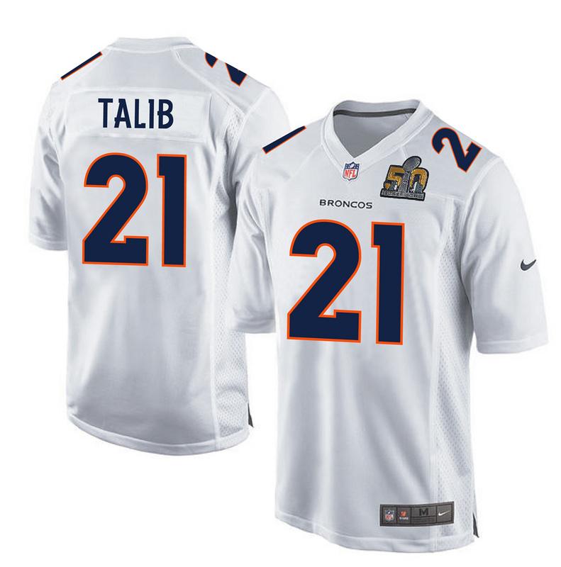 Nike Broncos 21 Aqib Talib White Super Bowl 50 Bound Game Event Jersey