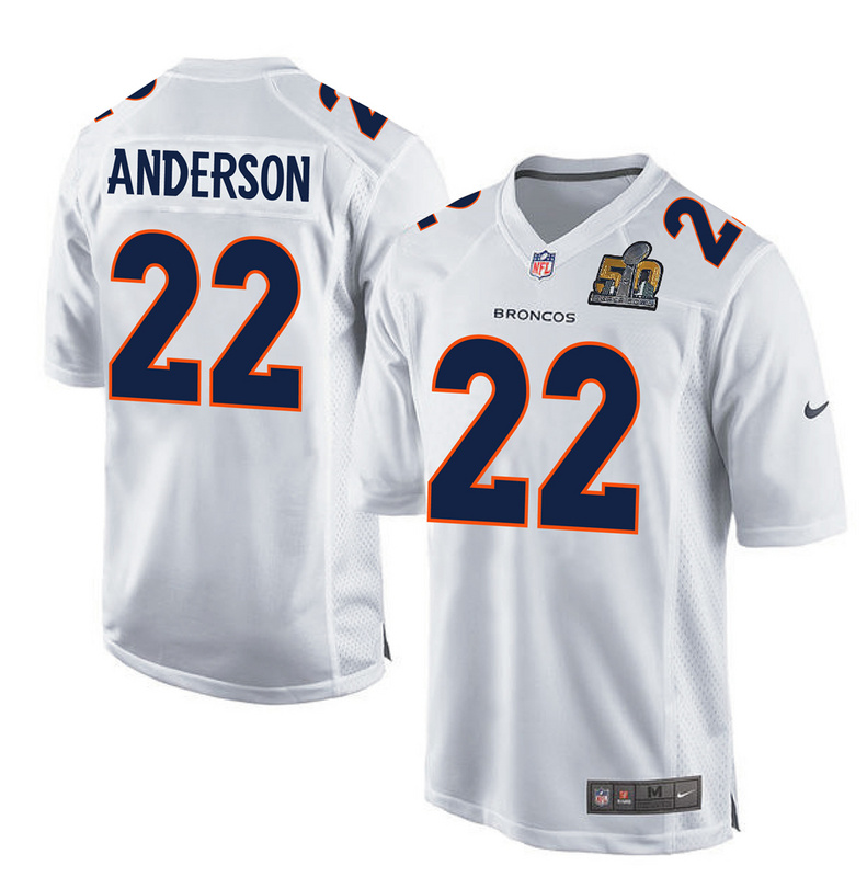 Nike Broncos 22 C.J. Anderson White Super Bowl 50 Bound Game Event Jersey