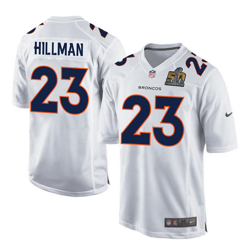 Nike Broncos 23 Ronnie Hillman White Super Bowl 50 Bound Game Event Jersey