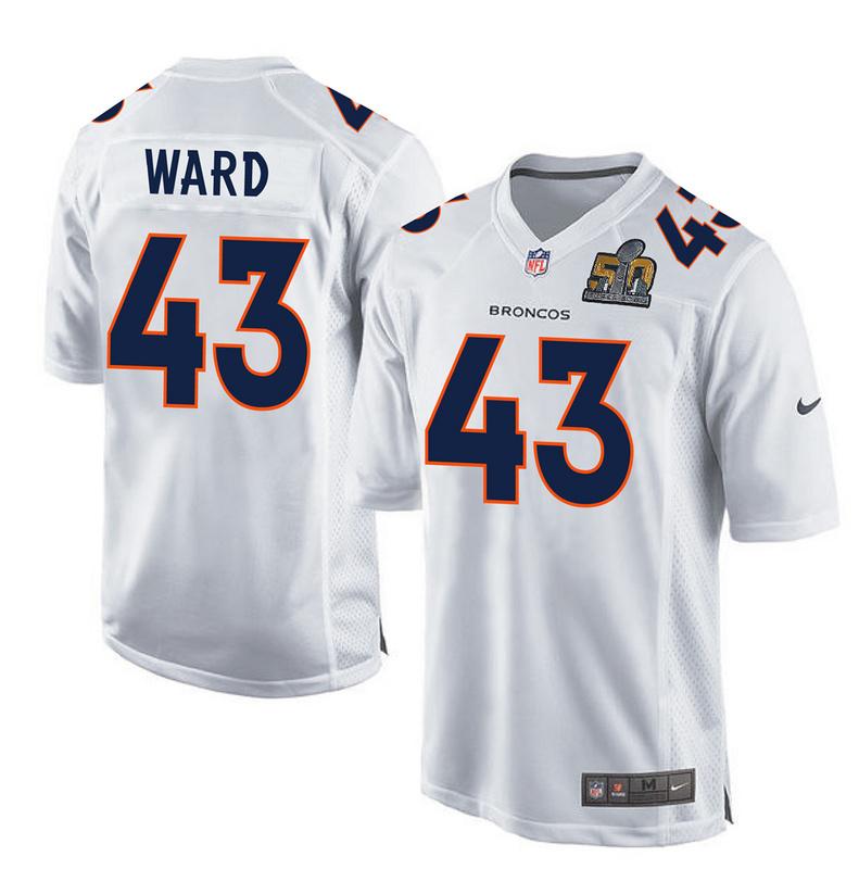 Nike Broncos 43 T.J. Ward White Super Bowl 50 Bound Game Event Jersey