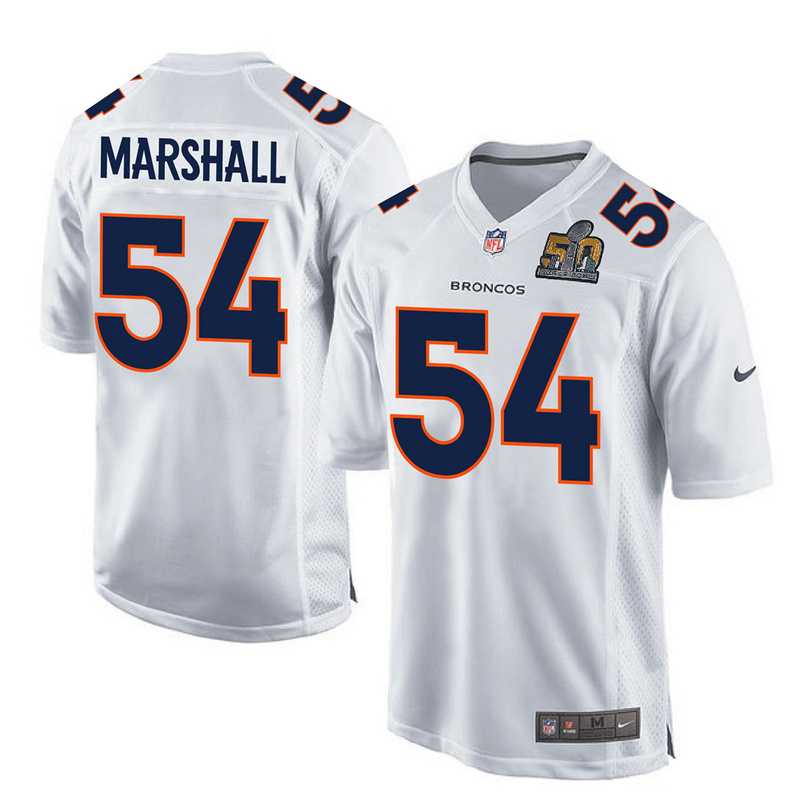 Nike Broncos 54 Brandon Marshall White Super Bowl 50 Bound Game Event Jersey