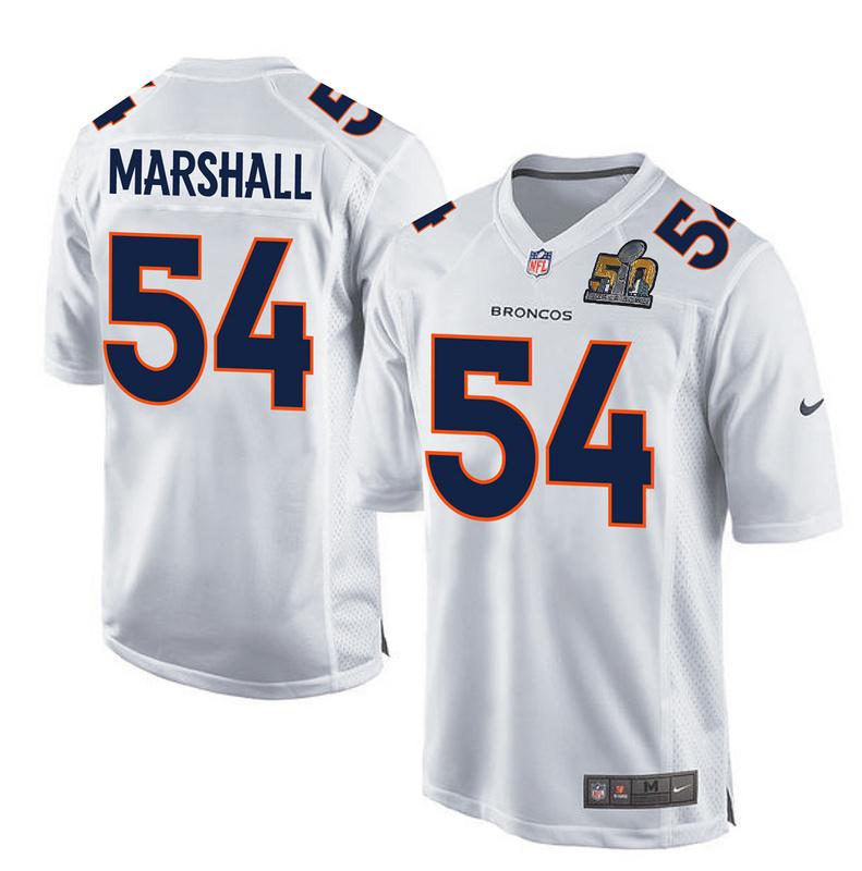 Nike Broncos 54 Brandon Marshall White Super Bowl 50 Bound Game Event Jersey