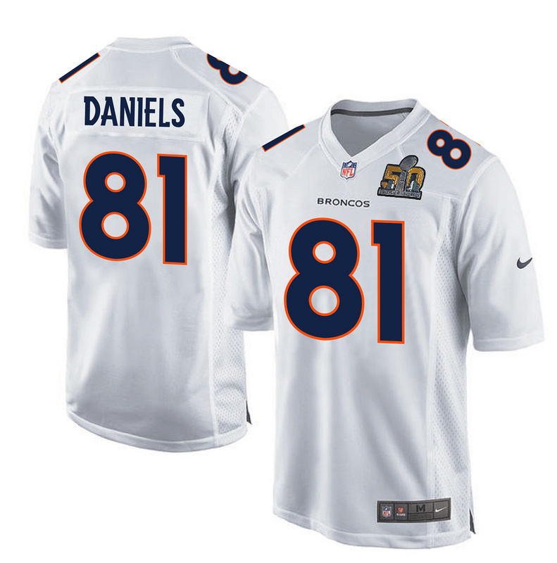 Nike Broncos 81 Owen Daniels White Super Bowl 50 Bound Game Event Jersey