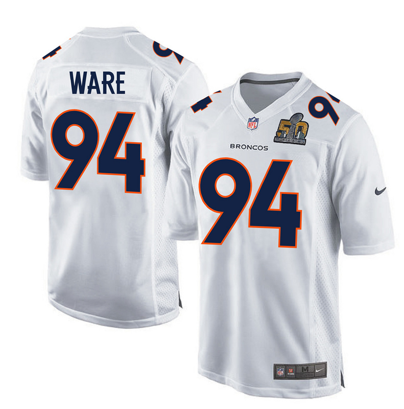 Nike Broncos 94 DeMarcus Ware White Super Bowl 50 Bound Game Event Jersey