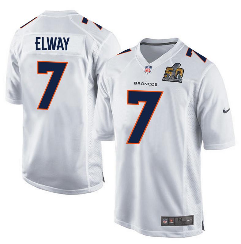 Nike Broncos 7 John Elway White Youth Super Bowl 50 Bound Game Event Jersey