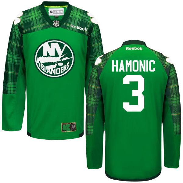 Islanders 3 Travis Hamonic Green St. Patrick's Day Reebok Jersey