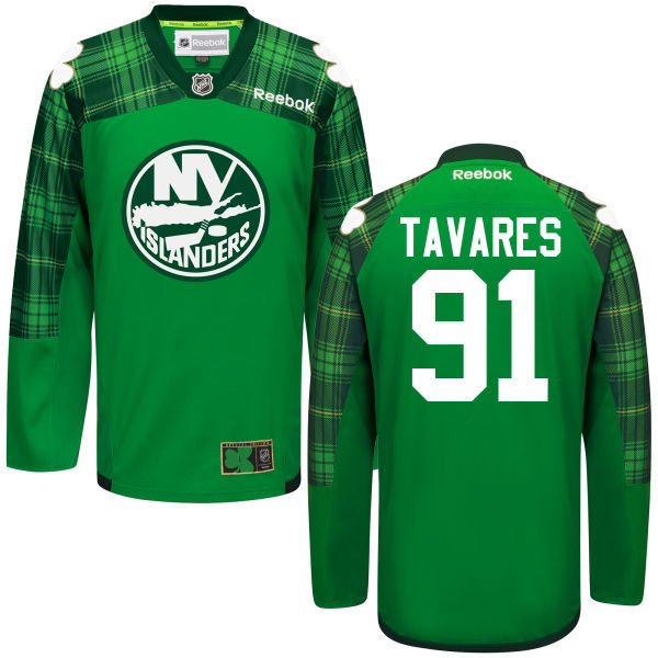 Islanders 91 John Tavares Green St. Patrick's Day Reebok Jersey