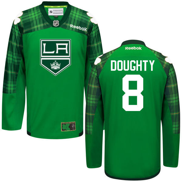 Kings 8 Drew Doughty Green St. Patrick's Day Reebok Jersey