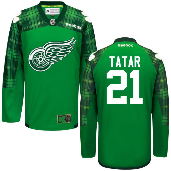 Red Wings 21 Tomas Tatar Green St. Patrick's Day Reebok Jersey