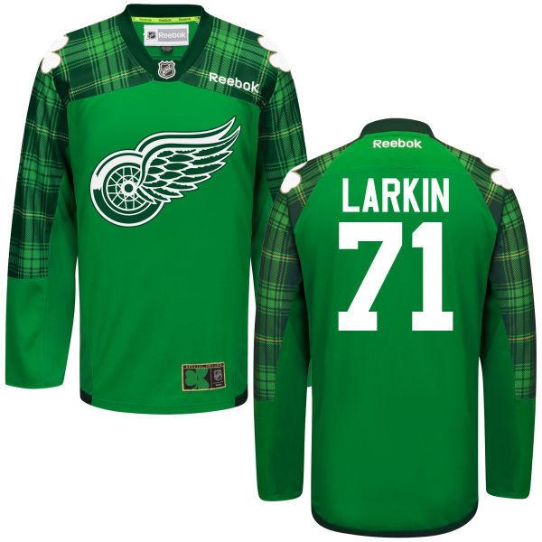 Red Wings 71 Dylan Larkin Green St. Patrick's Day Reebok Jersey
